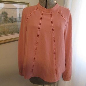 NWT dusty rose hi collar long sleeve blouse shirt